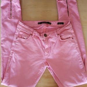 Zara premium denim slim fit cropped pink jeans 6